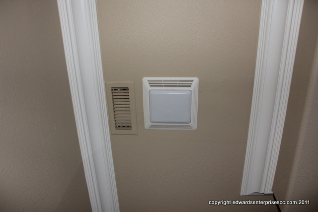 Residential exhaust fan installation: Exhaust Fan plumbing, tile, painting, carpentry, electrical, door, window, hardware: Edward's Enterprises Exhaust Fan.