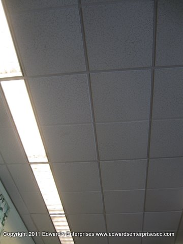 retail drop ceiling work including replacing tiles cleaning grid painting panels black menards 2x4