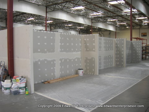 wall installation & remodel at a local warehouse
