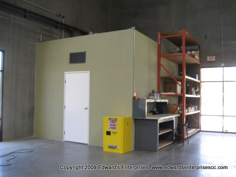 Construction of equipment room & cooling unit at manufacturing warehouse