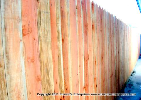 Edward's Enterprises Wood Fense Service in Santa Barbara, CA 93101, 93103, 93105, 93106, 93107, 93108, 93109, 93110, 93111, 93116, 93118, 93120, 93121, 93130, 93140, 93150, 93160, and 93190: Redwood and Cedar dog earred fence repair at an residential project where we did wood fence work