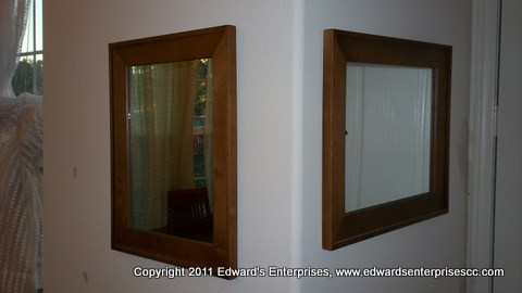 Hung Mirror Repairs and adjustments: Edward's Enterprises Mirror-glass-screen.