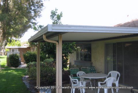 Metal patio covers like this one can be cleaned & painted & provide years of shade for your backyard patio or deck