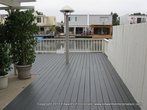 A residential deck repair