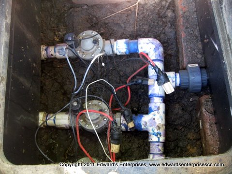 Edward's Enterprises Sprinkler Service in Westlake Village: Underground sprinkler system piping and fittings.
