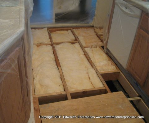 Edward's Enterprises Sub Flooring Service: Mobile home sub floor, insulation, moisture barrier removed and replaced.
