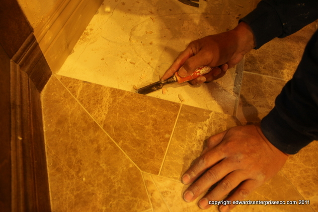 Bathroom floor tile replaced or installed in Canoga Park by Edward's Enterprises Handyman Services.