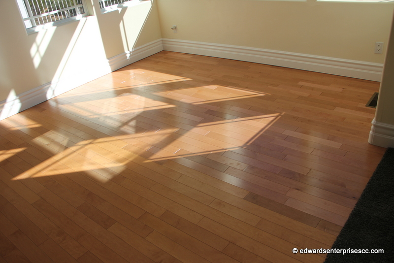 Laminate flooring installed to replace worn out carpet by Edward's Enterprises in Los Angeles (West)