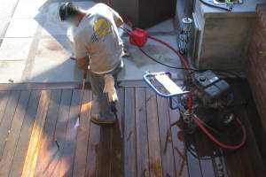 Landscaping Pressure Washing Wood Patio