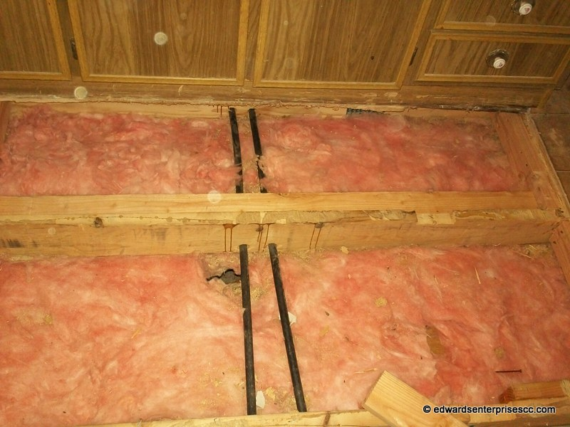 Mobile home sub floor, insulation, moisture barrier replaced