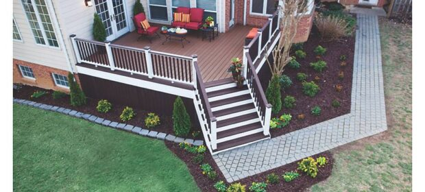 Aerial view of newly painted wooden deck and adjacent garden area