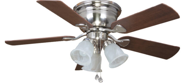 Ceiling fan with three lights on white background