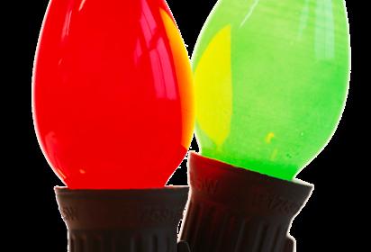 Green and red Christmas light bulbs