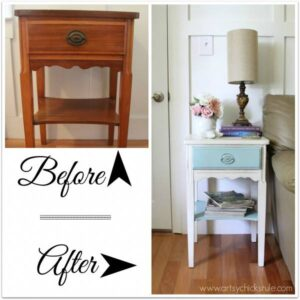 End table before and after painted white and robin's egg blue