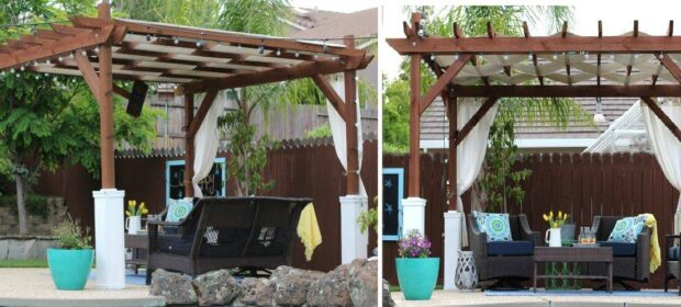 Side-by-side photos of one pergola. Below are three wicker chairs and a table.