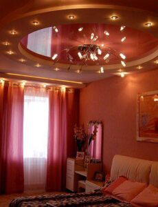 Luxuriously furnished bedroom with romantic recessed lights