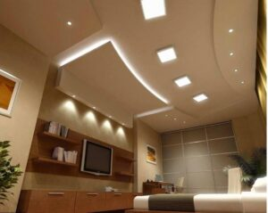 Ceiling of living room area with recess lighting installed