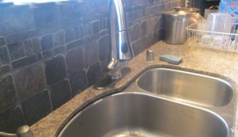 Clean, new faucet installed