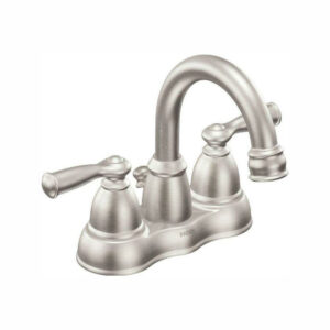 Brushed steel Moen faucet