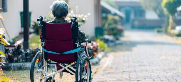 Elderly woman in wheelchair from behind looking down brick path