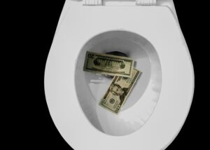 20 US dollar banknotes on toilet bowl