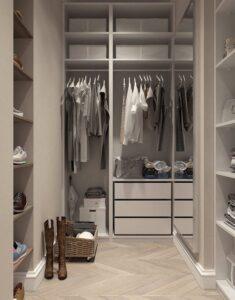 Closet, grey, organized, with clothing