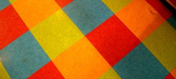 Vibrant, colorful vinyl floor tile