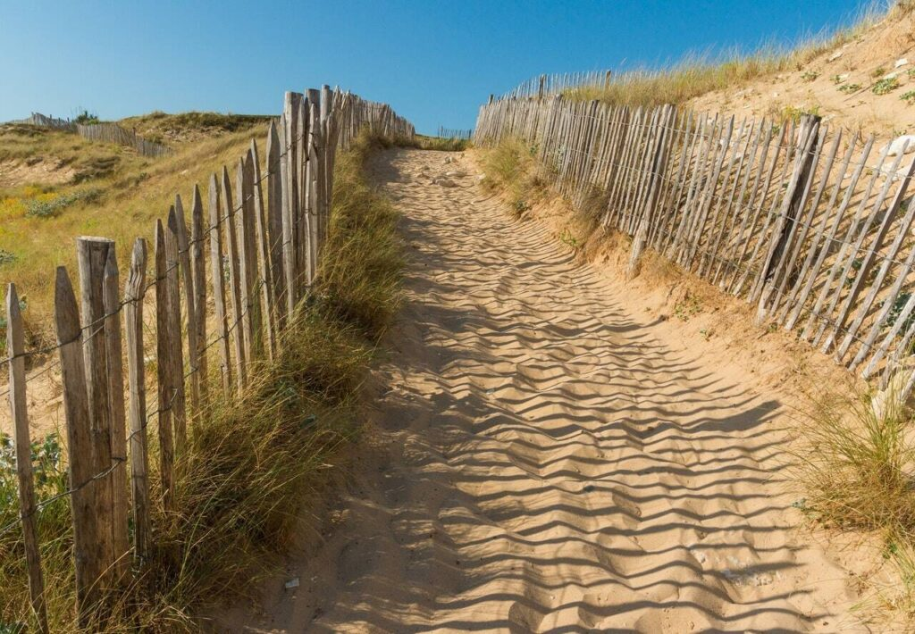 Sandy path at the beach with those ubiquitous beach fences on either side