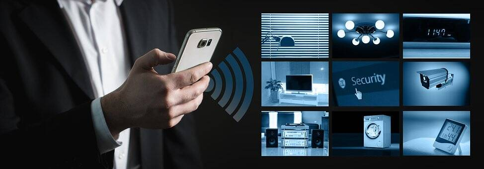 Smart phone stock photo doing some smart house stuff