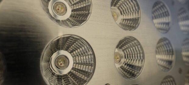 Close up view of LED spotlight array