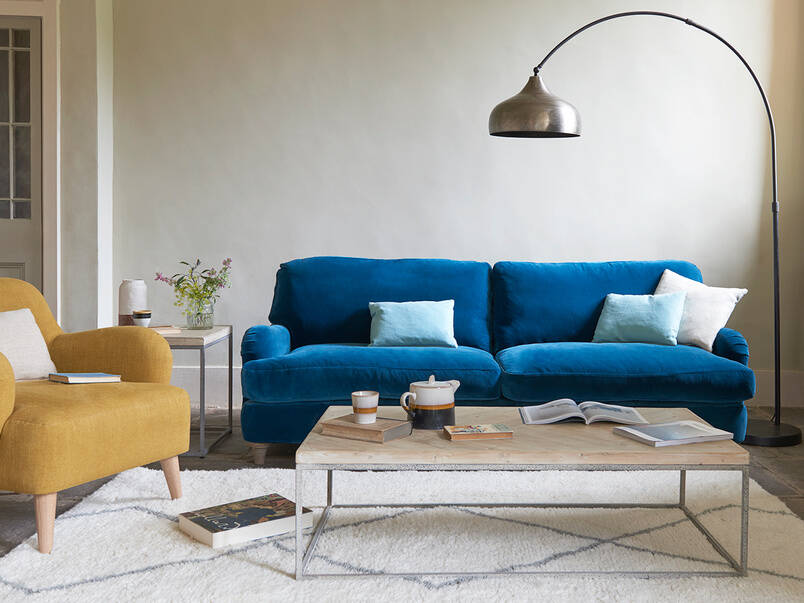 Blue Couch in an apartment living room