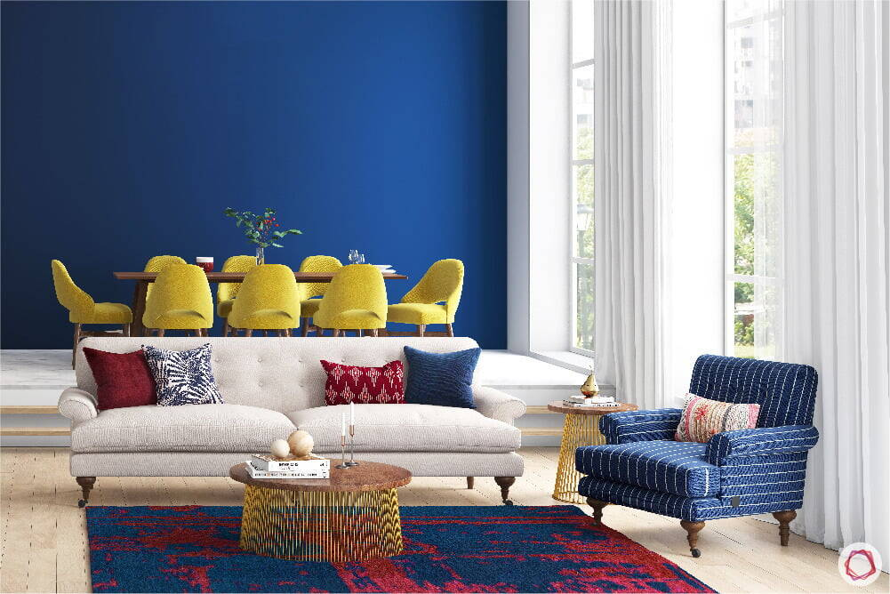 Blue wall in living room