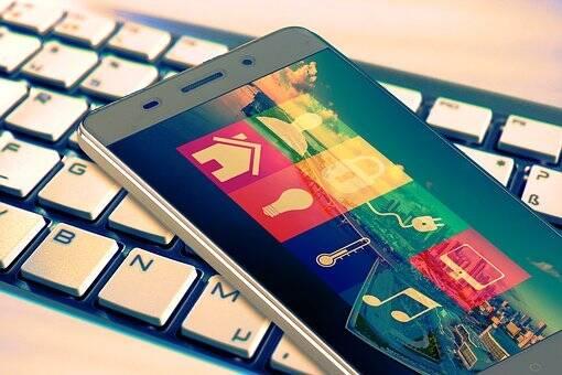 Smart phone on flat keyboard