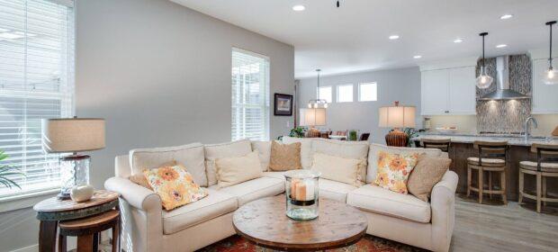 A well-lit living room